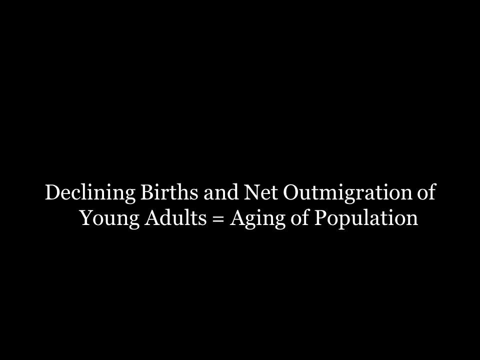 Declining Births and Net Outmigration of Young Adults = Aging of Population