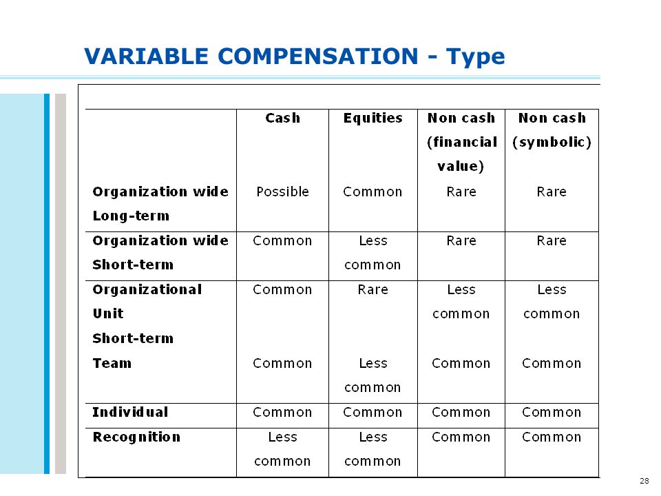28 VARIABLE COMPENSATION - Type