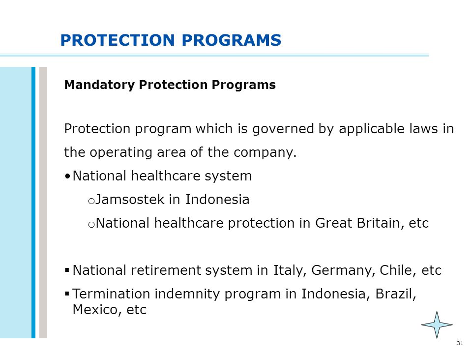 31 PROTECTION PROGRAMS Mandatory Protection Programs Protection program which is governed by applicable laws in the operating area of the company. Nat