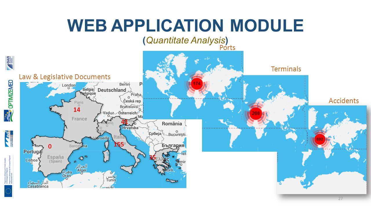 WEB APPLICATION MODULE (Quantitate Analysis) Ports Terminals Accidents Law & Legislative Documents 155 35 41 14 0 27