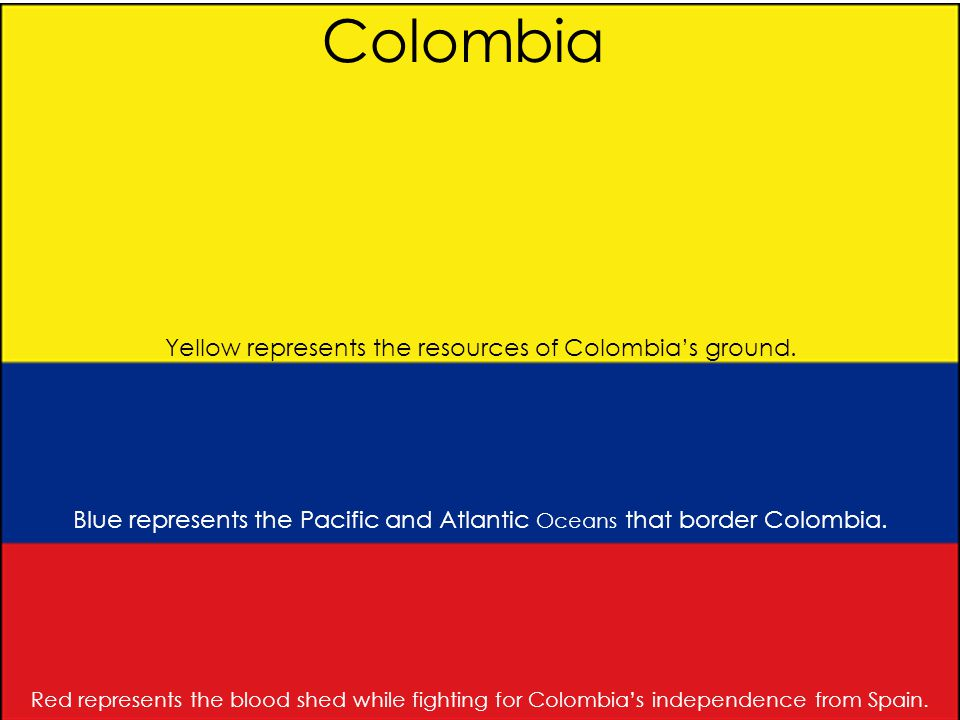 Colombia Yellow represents the resources of Colombia's ground. Blue represents the Pacific and Atlantic Oceans that border Colombia. Red represents th