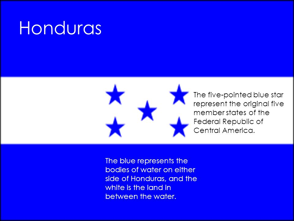 Honduras The blue represents the bodies of water on either side of Honduras, and the white is the land in between the water. The five-pointed blue sta