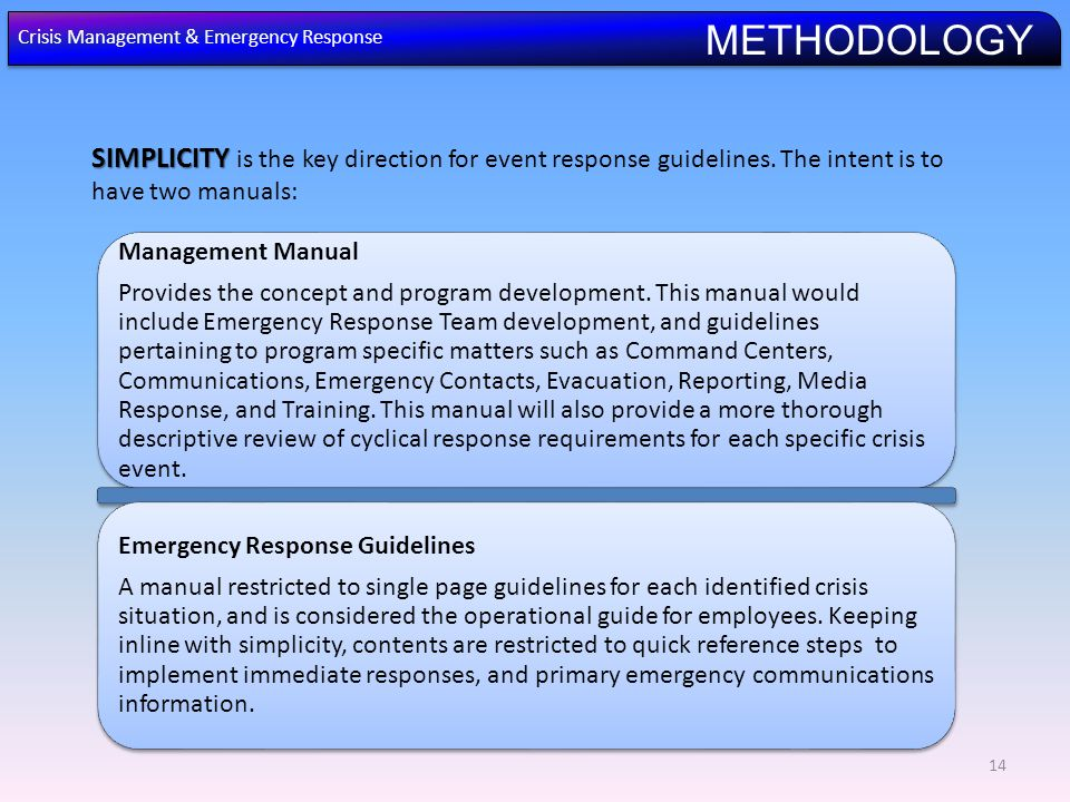 SIMPLICITY SIMPLICITY is the key direction for event response guidelines.