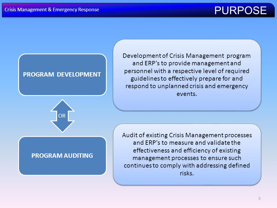 3 Development of Crisis Management program and ERP's to provide management and personnel with a respective level of required guidelines to effectively prepare for and respond to unplanned crisis and emergency events.