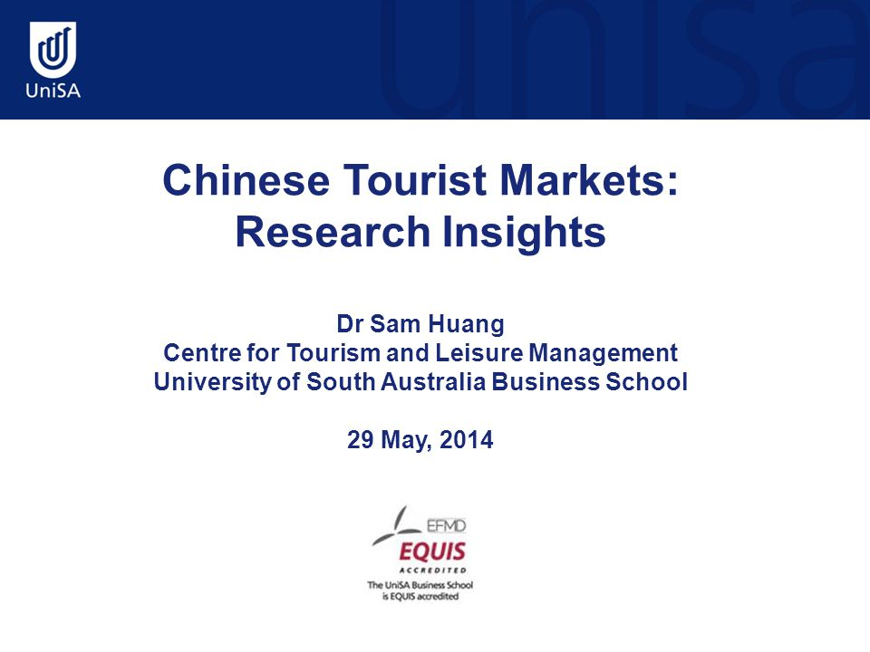 Chinese FIT/self-organised traveler market Socio-demographic characteristics: Gender: Male 56.8%; Female 43.2% 74.4% in between 25-44 yrs Well educated; 82.9% having bachelor degree or above Above average income level but not self perceived as rich and free person Shanghai, Beijing and GZ as most important generating regions (53%); Hangzhou, Shenzhen, Suzhou contributing to the sample significantly (Source: Yixian Xiang, 2013)