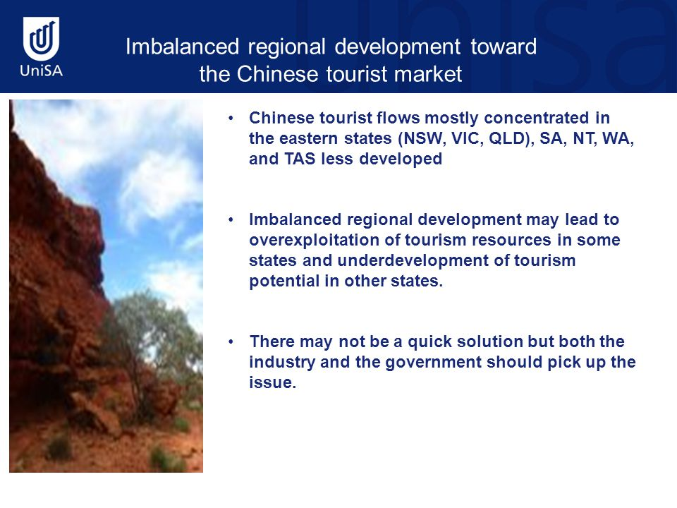 Chinese tourist flows mostly concentrated in the eastern states (NSW, VIC, QLD), SA, NT, WA, and TAS less developed Imbalanced regional development may lead to overexploitation of tourism resources in some states and underdevelopment of tourism potential in other states.