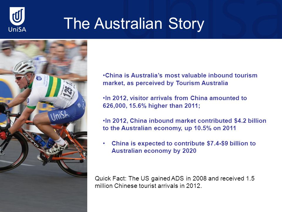China Outbound Tourism to Australia Australia's market share of total outbound tourism market from China has decreased from 1 per cent in 2002 to 0.7 per cent in 2012 In 2012, Australia ranked 16 th among all outbound destinations to China, slipping one position from 2011; Australia ranked 11 th among out-of-region destinations, slipping one position from 2011 In 2012, the top five outbound Destinations for Chinese travellers were Hong Kong, Macau, South Korea, Taiwan, Thailand; the top five out-of-region (North Asia) destinations for Chinese travellers were: Thailand, USA, France, Malaysia, and Vietnam