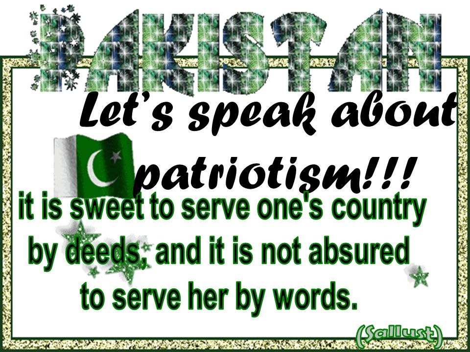 Let's speak about patriotism!!!
