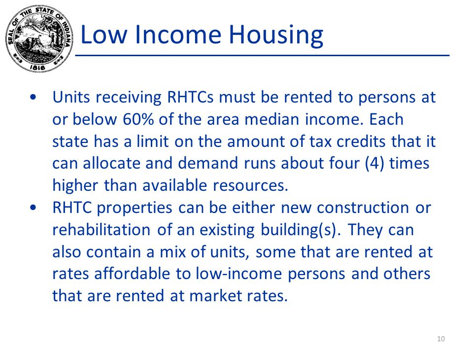 Low Income Housing Units receiving RHTCs must be rented to persons at or below 60% of the area median income.