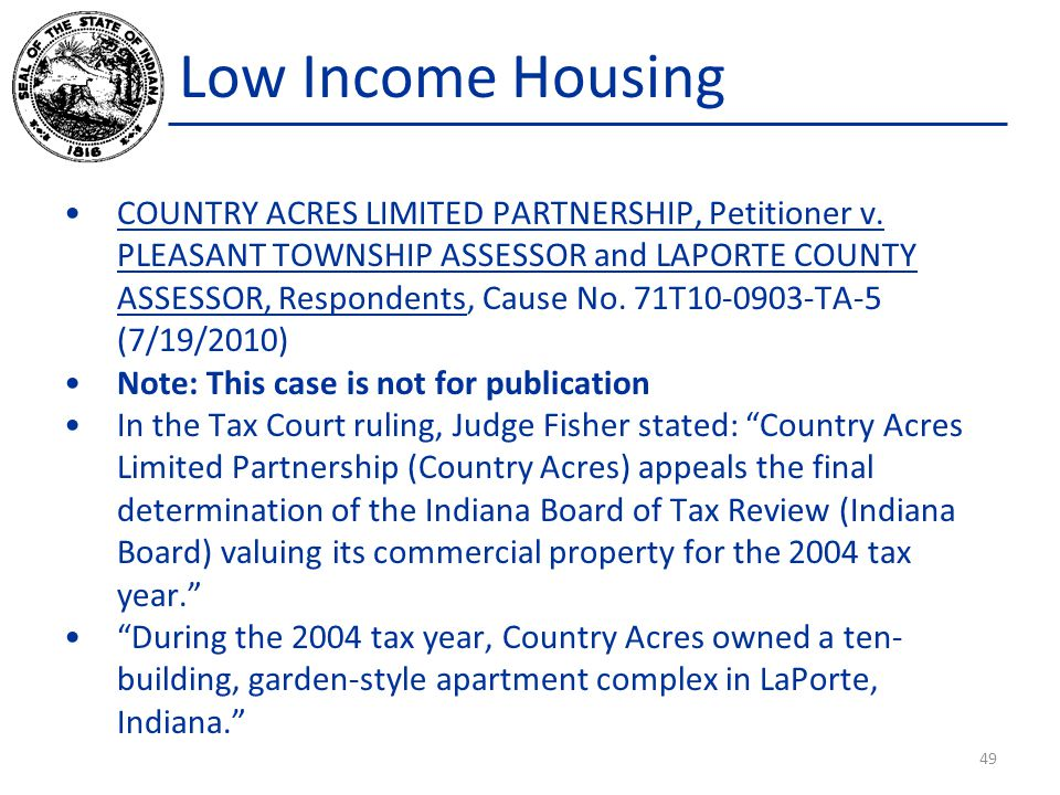 Low Income Housing COUNTRY ACRES LIMITED PARTNERSHIP, Petitioner v.