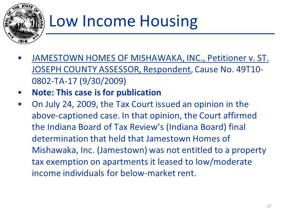 Low Income Housing JAMESTOWN HOMES OF MISHAWAKA, INC., Petitioner v.