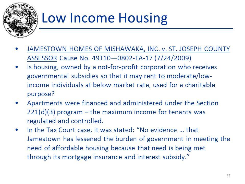 Low Income Housing JAMESTOWN HOMES OF MISHAWAKA, INC.