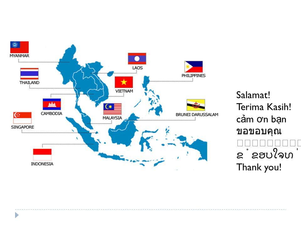 Salamat! Terima Kasih! c ả m ơ n b ạ n ขอขอบคุณ ຂໍຂອບໃຈທ່ານ Thank you!