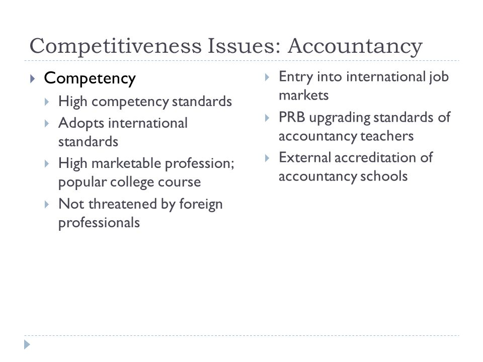 Competitiveness Issues: Accountancy  Competency  High competency standards  Adopts international standards  High marketable profession; popular college course  Not threatened by foreign professionals  Entry into international job markets  PRB upgrading standards of accountancy teachers  External accreditation of accountancy schools