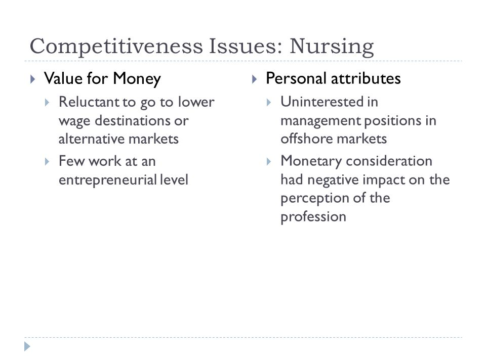 Competitiveness Issues: Nursing  Value for Money  Reluctant to go to lower wage destinations or alternative markets  Few work at an entrepreneurial level  Personal attributes  Uninterested in management positions in offshore markets  Monetary consideration had negative impact on the perception of the profession