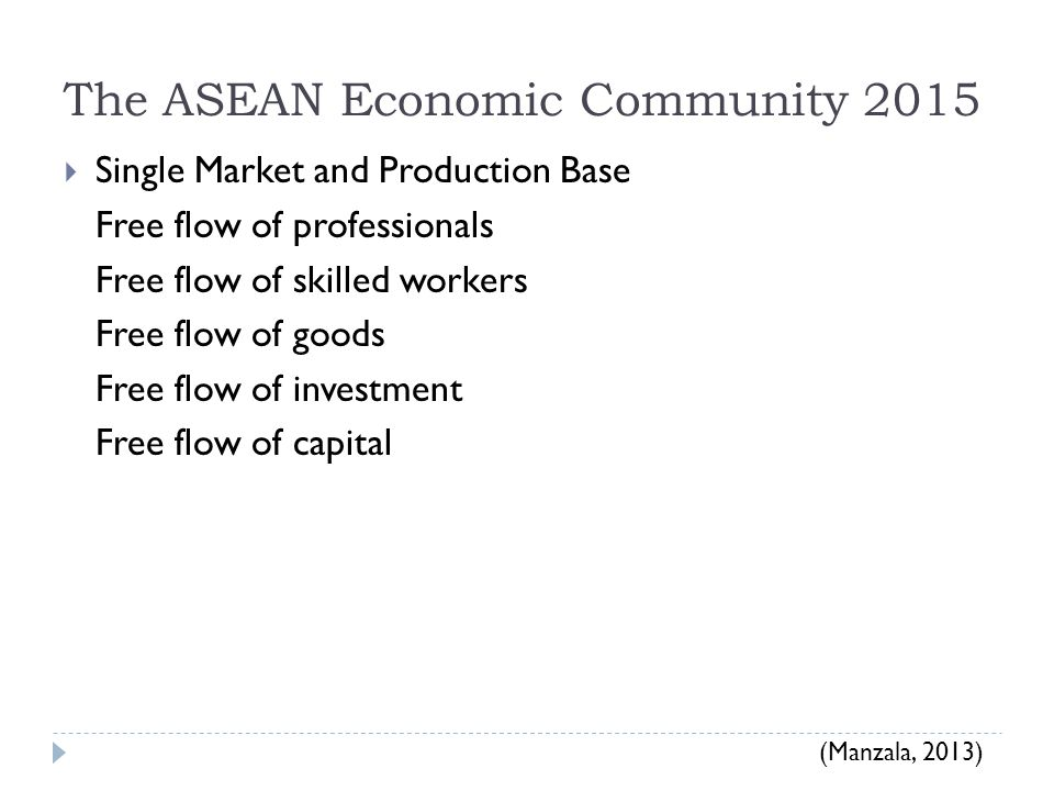 The ASEAN Economic Community 2015  Single Market and Production Base Free flow of professionals Free flow of skilled workers Free flow of goods Free flow of investment Free flow of capital (Manzala, 2013)