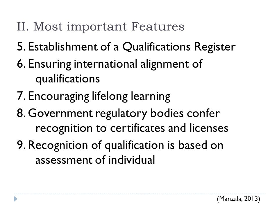 II.Most important Features 5. Establishment of a Qualifications Register 6.