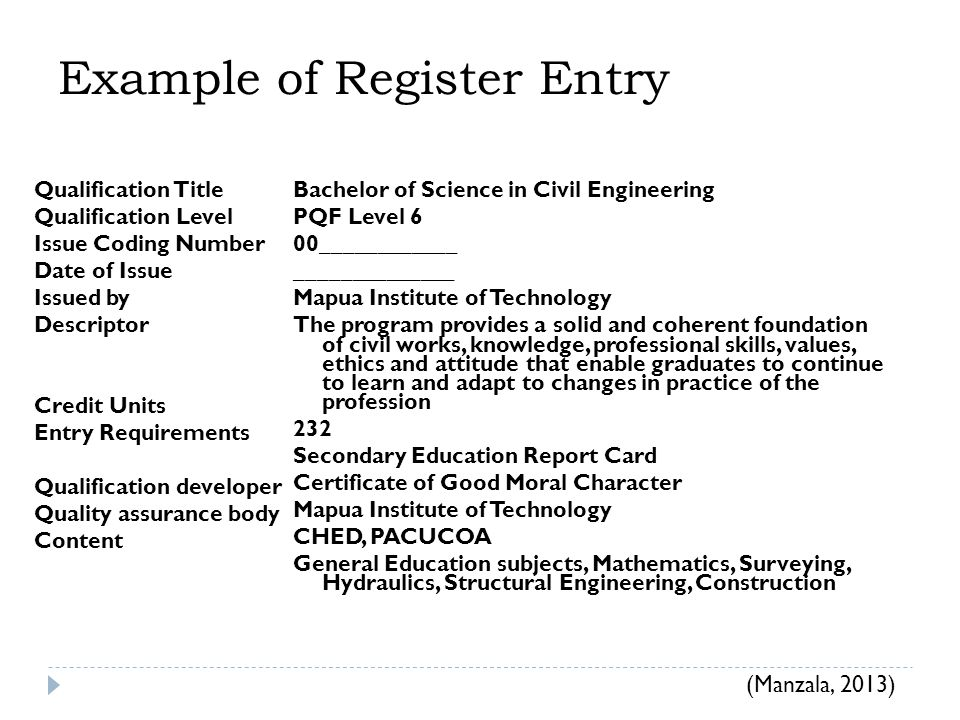 Example of Register Entry Qualification Title Qualification Level Issue Coding Number Date of Issue Issued by Descriptor Credit Units Entry Requirements Qualification developer Quality assurance body Content Bachelor of Science in Civil Engineering PQF Level 6 00____________ ______________ Mapua Institute of Technology The program provides a solid and coherent foundation of civil works, knowledge, professional skills, values, ethics and attitude that enable graduates to continue to learn and adapt to changes in practice of the profession 232 Secondary Education Report Card Certificate of Good Moral Character Mapua Institute of Technology CHED, PACUCOA General Education subjects, Mathematics, Surveying, Hydraulics, Structural Engineering, Construction (Manzala, 2013)