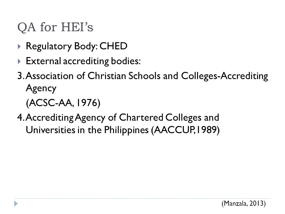 QA for HEI's  Regulatory Body: CHED  External accrediting bodies: 3.