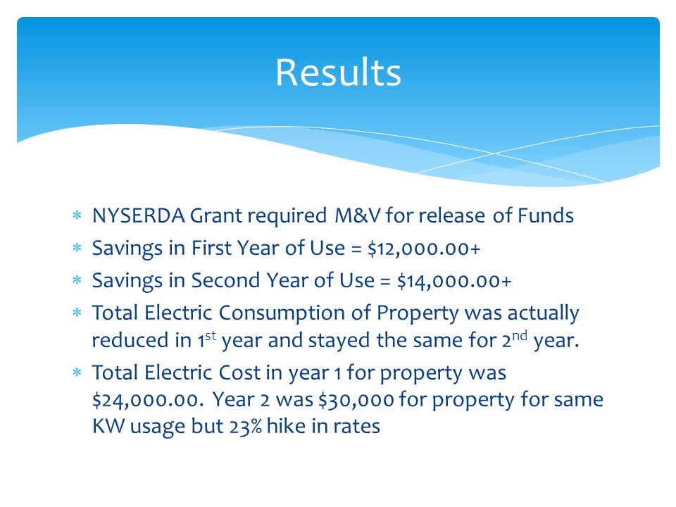  NYSERDA Grant required M&V for release of Funds  Savings in First Year of Use = $12,000.00+  Savings in Second Year of Use = $14,000.00+  Total Electric Consumption of Property was actually reduced in 1 st year and stayed the same for 2 nd year.
