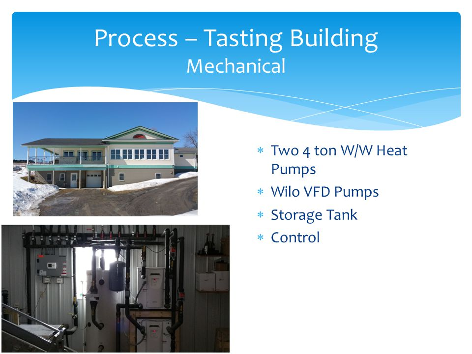  Two 4 ton W/W Heat Pumps  Wilo VFD Pumps  Storage Tank  Control Process – Tasting Building Mechanical
