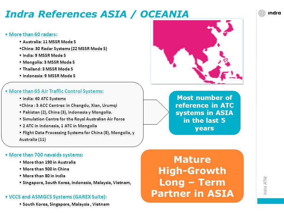 More than 60 radars: Australia: 11 MSSR Mode S China: 30 Radar Systems (22 MSSR Mode S) India: 9 MSSR Mode S Mongolia: 3 MSSR Mode S Thailand: 3 MSSR Mode S Indonesia: 9 MSSR Mode S More than 65 Air Traffic Control Systems: India: 40 ATC Systems China : 3 ACC Centres: in Chengdu, Xian, Urumqi Pakistan (2), China (3), Indonesia y Mongolia.