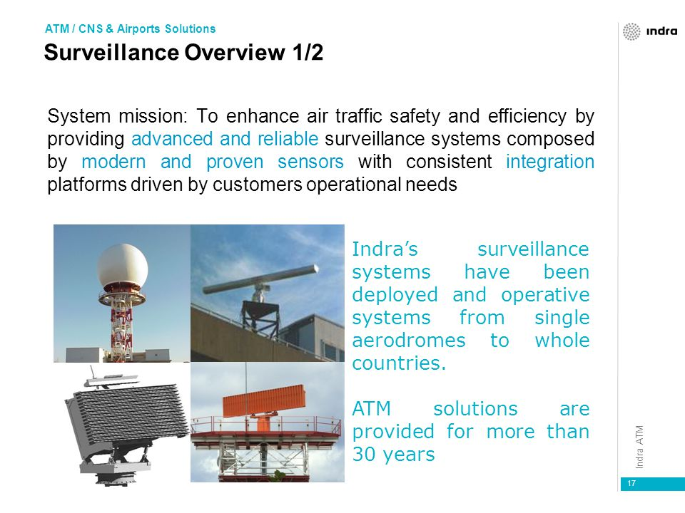 Indra ATM 17 System mission: To enhance air traffic safety and efficiency by providing advanced and reliable surveillance systems composed by modern and proven sensors with consistent integration platforms driven by customers operational needs Indra's surveillance systems have been deployed and operative systems from single aerodromes to whole countries.