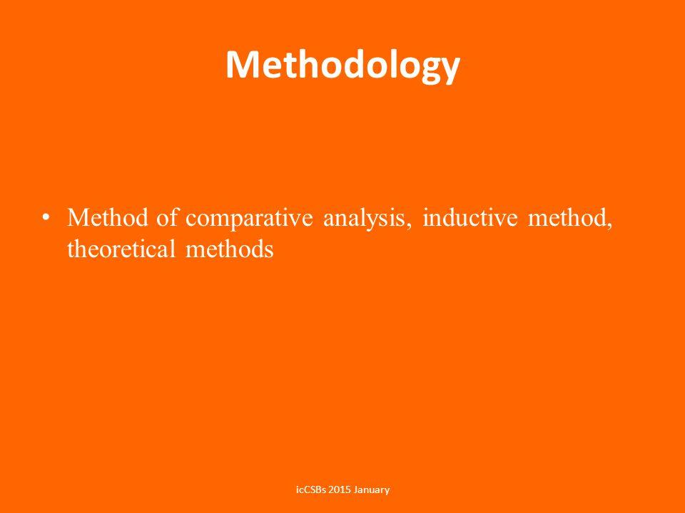 Methodology Method of comparative analysis, inductive method, theoretical methods icCSBs 2015 January