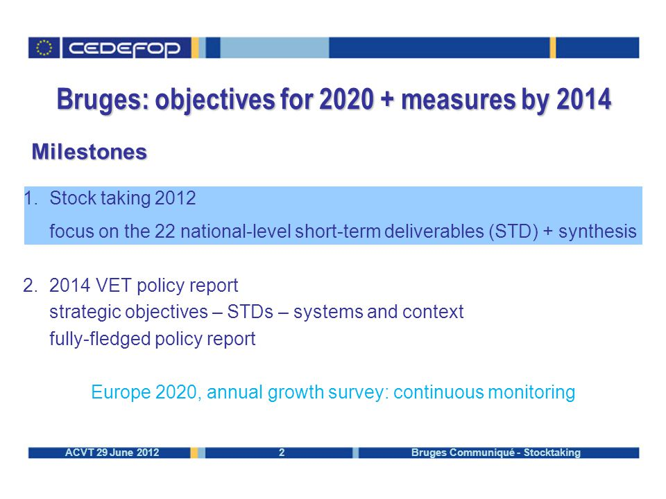 2ACVT 29 June 2012 Bruges Communiqué - Stocktaking Bruges: objectives for 2020 + measures by 2014 Milestones 1.Stock taking 2012 focus on the 22 national-level short-term deliverables (STD) + synthesis 2.2014 VET policy report strategic objectives – STDs – systems and context fully-fledged policy report Europe 2020, annual growth survey: continuous monitoring