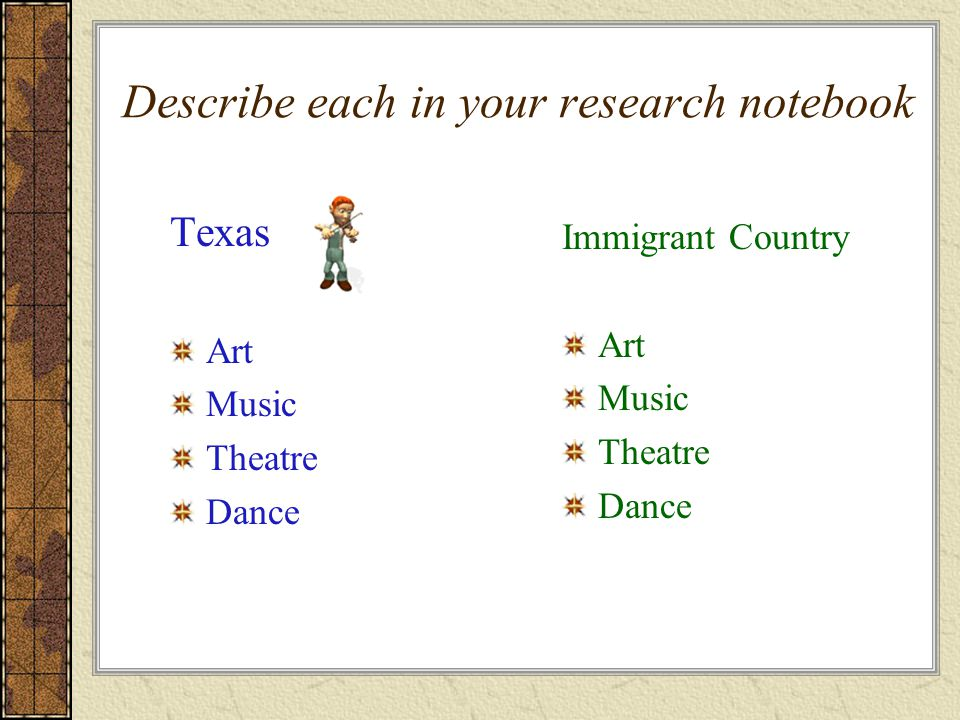 Describe each in your research notebook Texas Art Music Theatre Dance Immigrant Country Art Music Theatre Dance