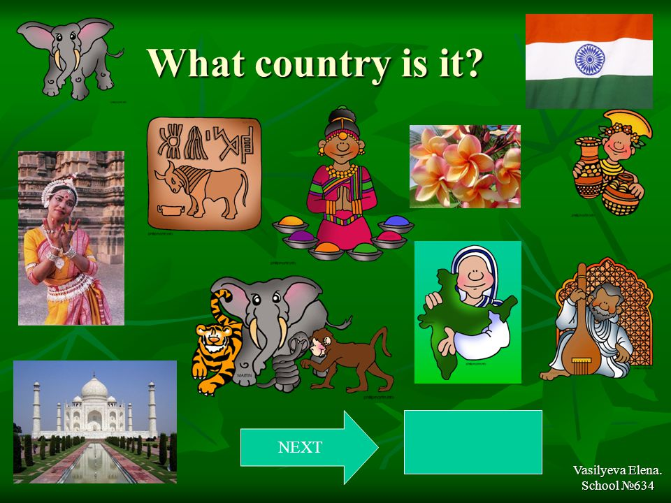 What country is it Vasilyeva Elena. School №634 NEXT India