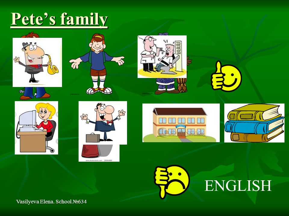 Pete's family Vasilyeva Elena. School №634 ENGLISH