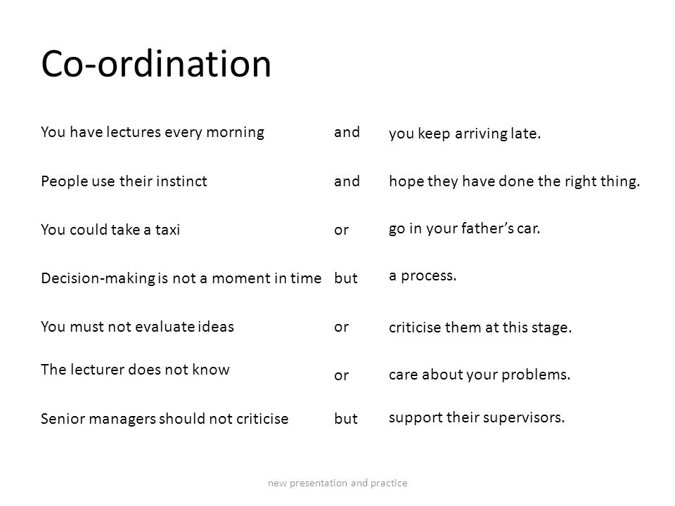 Co-ordination You have lectures every morning People use their instinct You could take a taxi Decision-making is not a moment in time You must not evaluate ideas The lecturer does not know Senior managers should not criticise and or but or but you keep arriving late.