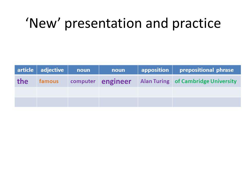 'New' presentation and practice articleadjectivenoun appositionprepositional phrase the famouscomputer engineer Alan Turingof Cambridge University
