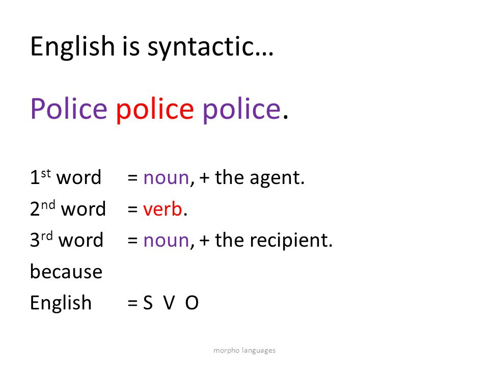English is syntactic… Police police police. 1 st word = noun, + the agent. 2 nd word = verb. 3 rd word = noun, + the recipient. because English = S V