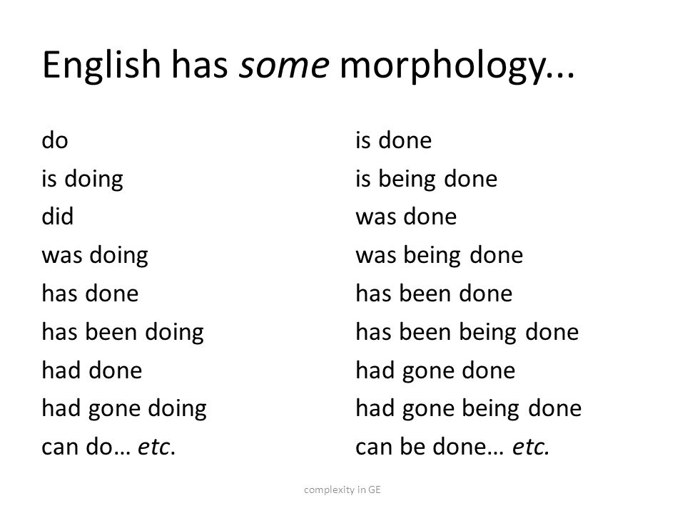 English has some morphology...
