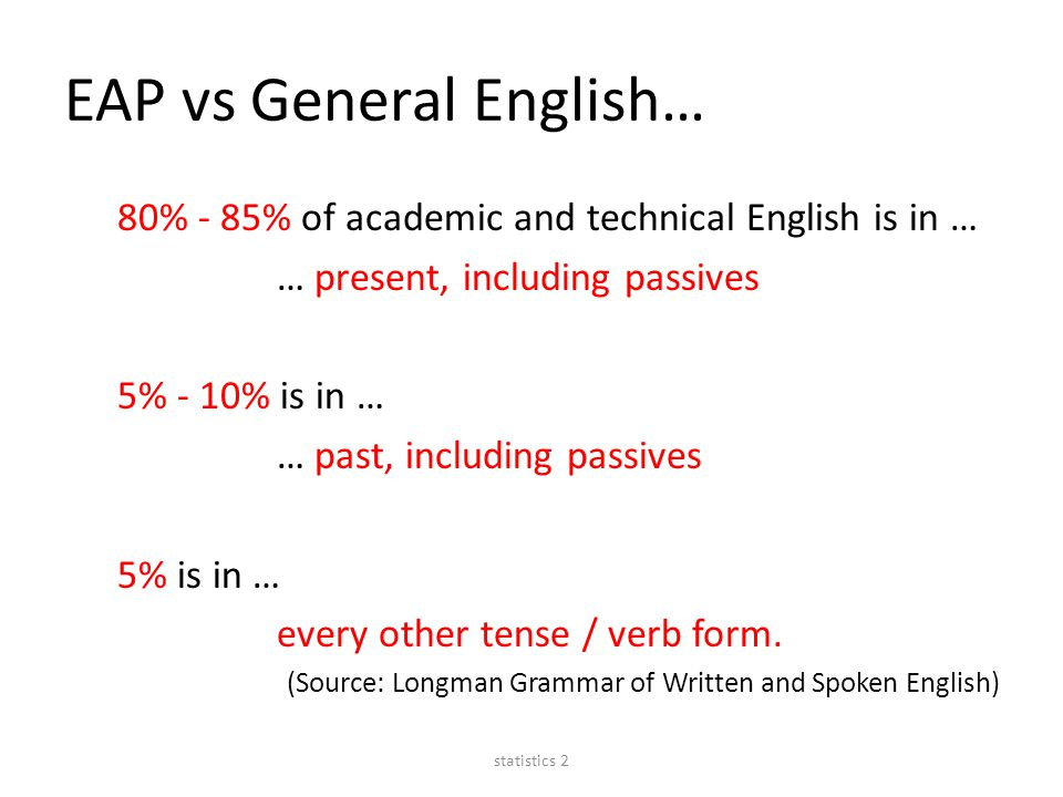 EAP vs General English… 80% - 85% of academic and technical English is in … … present, including passives 5% - 10% is in … … past, including passives 5% is in … every other tense / verb form.