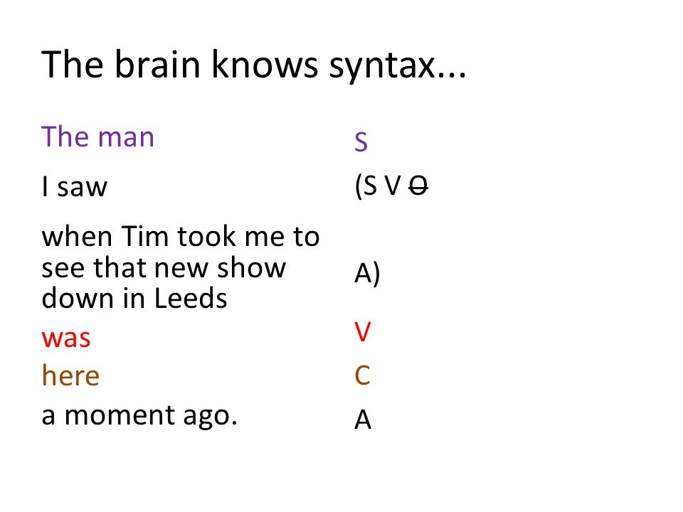 The brain knows syntax...