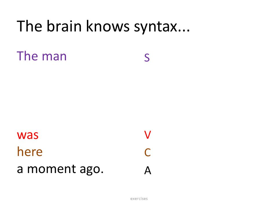 The brain knows syntax... The man was here a moment ago. S VCAS VCA exercises