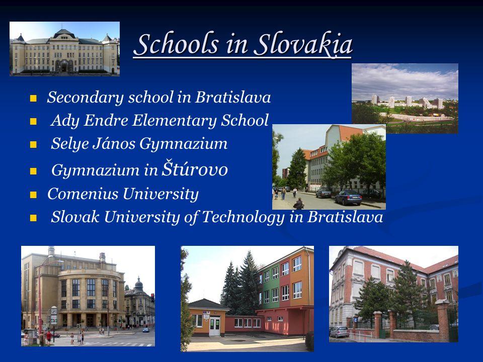 Schools in Slovakia Secondary school in Bratislava Ady Endre Elementary School Selye János Gymnazium Gymnazium in Štúrovo Comenius University Slovak University of Technology in Bratislava