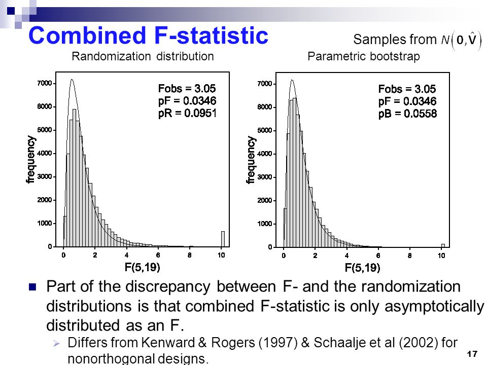 17 Combined F-statistic Part of the discrepancy between F- and the randomization distributions is that combined F-statistic is only asymptotically distributed as an F.