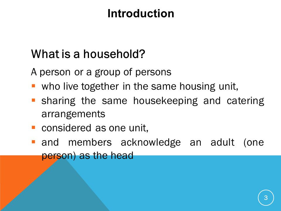 Introduction A person or a group of persons  who live together in the same housing unit,  sharing the same housekeeping and catering arrangements 