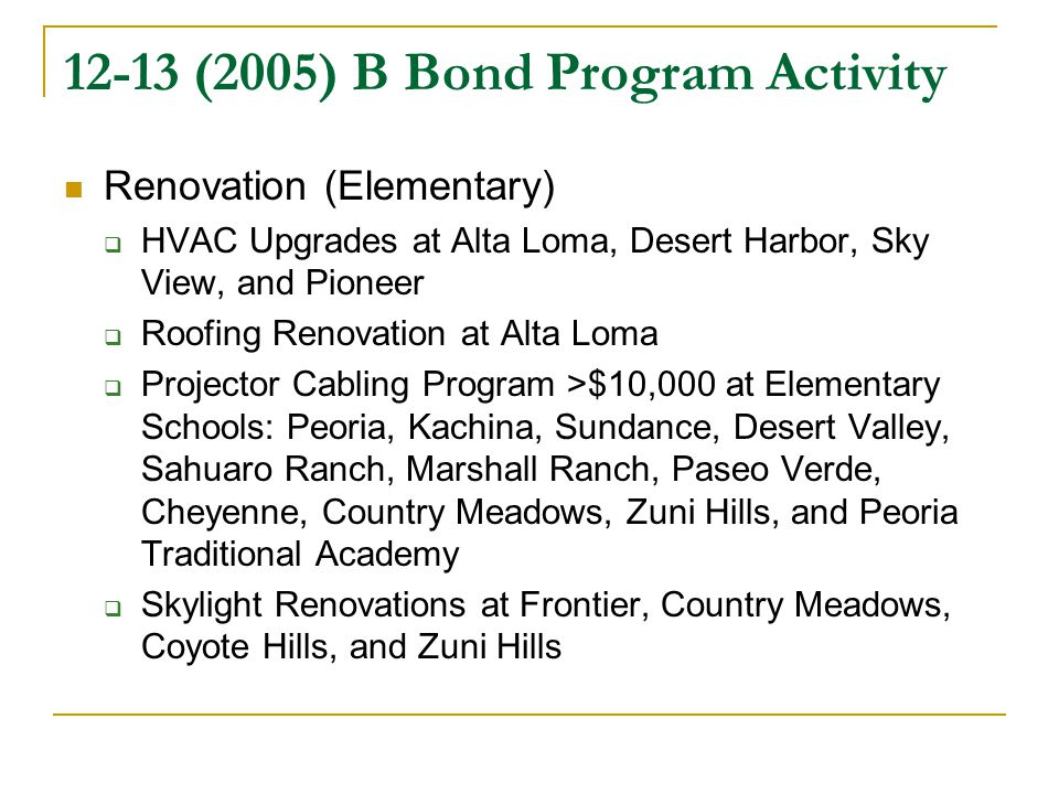 12-13 (2005) B Bond Program Activity Renovation (Elementary)  HVAC Upgrades at Alta Loma, Desert Harbor, Sky View, and Pioneer  Roofing Renovation at Alta Loma  Projector Cabling Program >$10,000 at Elementary Schools: Peoria, Kachina, Sundance, Desert Valley, Sahuaro Ranch, Marshall Ranch, Paseo Verde, Cheyenne, Country Meadows, Zuni Hills, and Peoria Traditional Academy  Skylight Renovations at Frontier, Country Meadows, Coyote Hills, and Zuni Hills