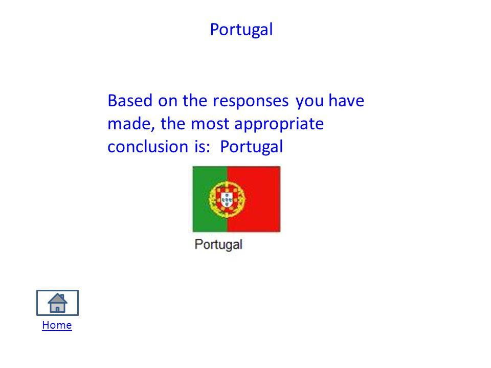 Portugal Based on the responses you have made, the most appropriate conclusion is: Portugal Home