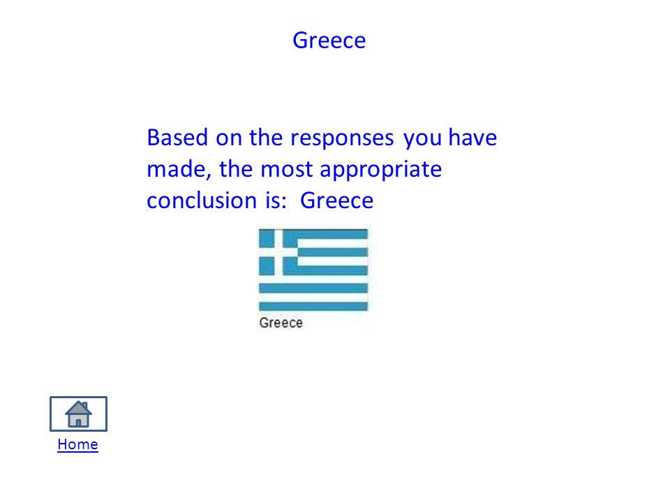 Greece Based on the responses you have made, the most appropriate conclusion is: Greece Home