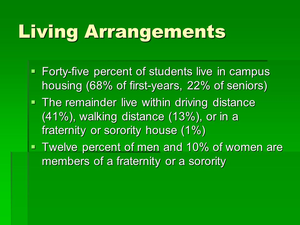 Living Arrangements  Forty-five percent of students live in campus housing (68% of first-years, 22% of seniors)  The remainder live within driving d