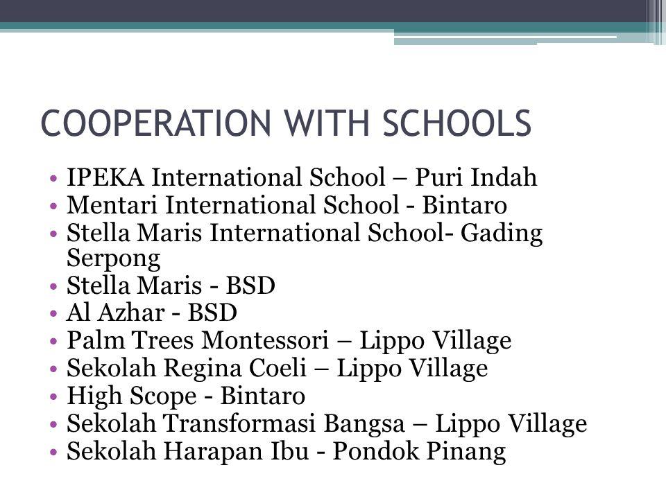COOPERATION WITH SCHOOLS IPEKA International School – Puri Indah Mentari International School - Bintaro Stella Maris International School- Gading Serp