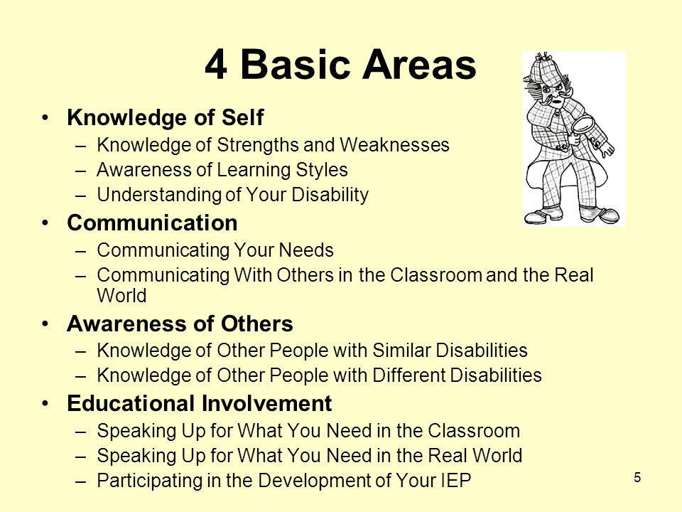 5 4 Basic Areas Knowledge of Self –Knowledge of Strengths and Weaknesses –Awareness of Learning Styles –Understanding of Your Disability Communication –Communicating Your Needs –Communicating With Others in the Classroom and the Real World Awareness of Others –Knowledge of Other People with Similar Disabilities –Knowledge of Other People with Different Disabilities Educational Involvement –Speaking Up for What You Need in the Classroom –Speaking Up for What You Need in the Real World –Participating in the Development of Your IEP