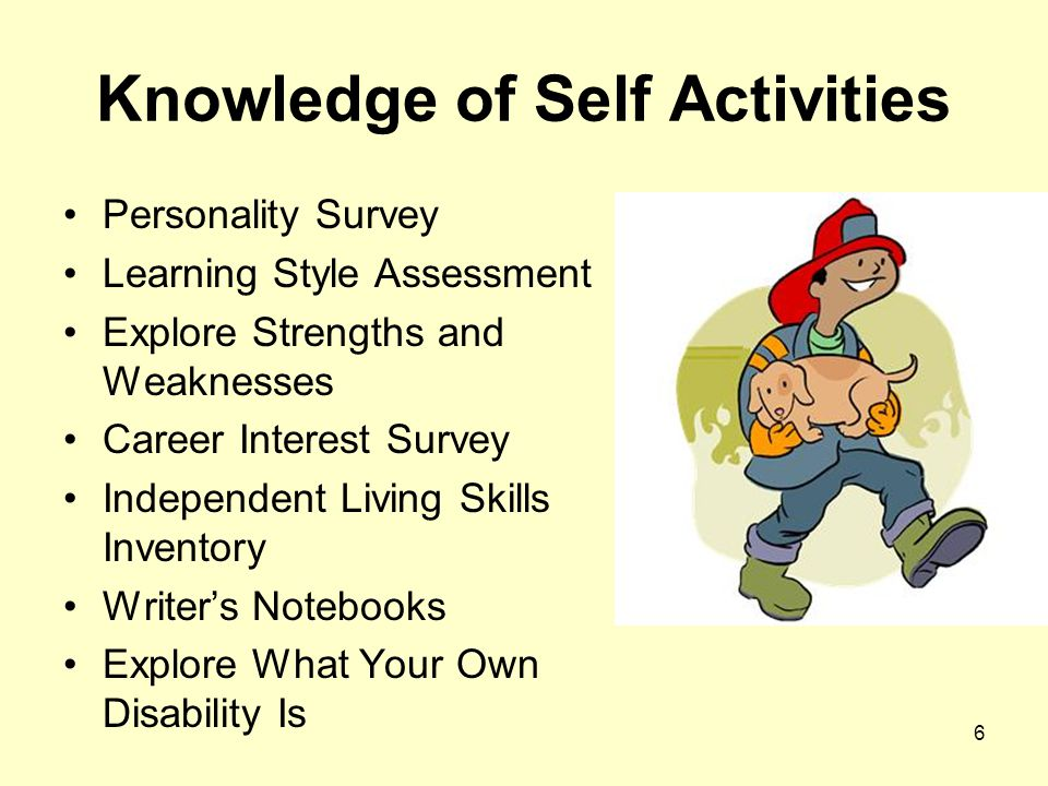 6 Knowledge of Self Activities Personality Survey Learning Style Assessment Explore Strengths and Weaknesses Career Interest Survey Independent Living Skills Inventory Writer's Notebooks Explore What Your Own Disability Is