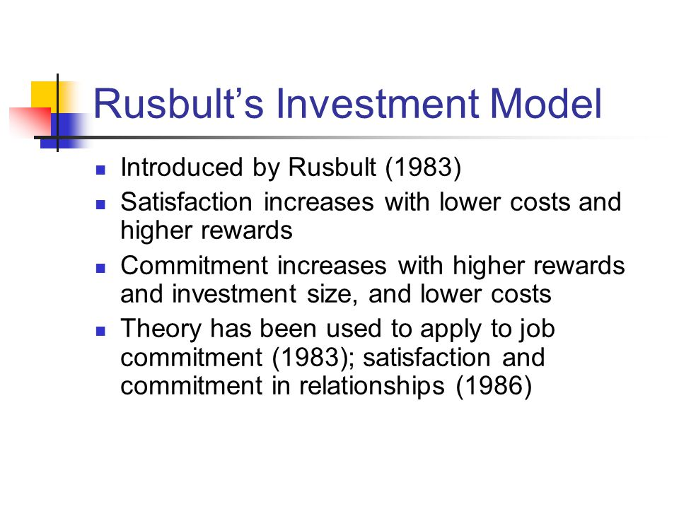 Hatcher (1992) Studied College Student commitment using Rusbult's Investment Model Phase 1: Sample of students generated concrete examples of rewards, costs, alternatives, and investments associated with college Phase 2: Examples used to teach concepts to a new sample of students, who then completed the global measures of the investment model variables Found satisfaction, alternatives, and investments each affected commitment